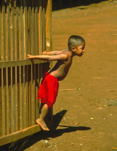 Laos_boy_on_gate
